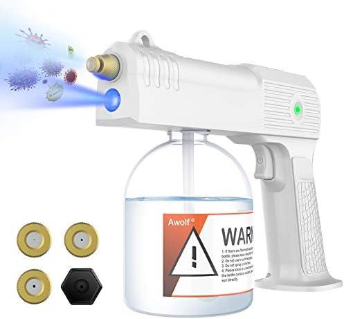Awolf Cordless Electric ULV Sprayer,Nano Electric ULV Spray Gun Fogger,Portable Mini Sprayer Disinfection Machine with Blue Light. (White)