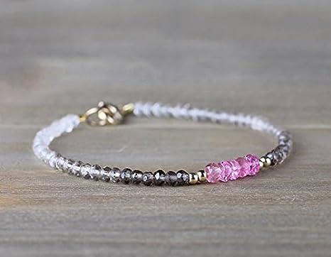 Ombre - Pulsera de turmalina de cuarzo y rosa en plata de ley o oro rosa relleno con cuentas, color marrón, rosa facetado, pulsera de cristal facetado de 3 mm a 4 mm