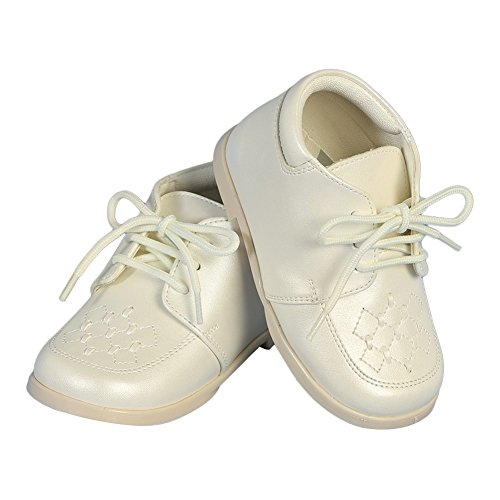 (Angels Garment Boys Ivory Lace-Up Leather Christening Shoes 4)