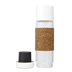 Full Circle Tea Time Insulated Glass Travel Bottle with Tea Infuser & Cork Sleeve, Earl Grey