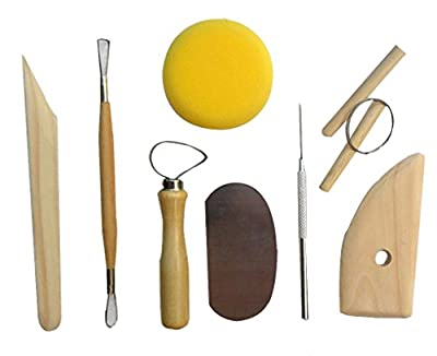 niceeshop(TM) Full Function Wood and Stainless Steal 8 Piece Pottery and Clay Modelling Tool Sculpture Set