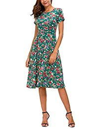 Urban CoCo Women's Floral Print Short Sleeve Flared Midi Dress