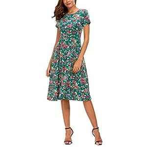 8a001938cda9 Urban CoCo Women's Floral Print Short Sleeve Flared Midi Dress ...