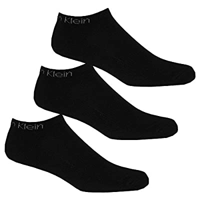 Calvin Klein 3-Pack Coolmax Cotton Cushioned Men's Trainer Socks, Black