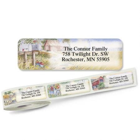 3/4 Clear Address Labels - American Countryside Rolled Return Address Labels (6 Designs) Roll of 250 - 2 1/2