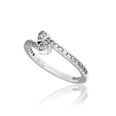 7cb87ce5e5b458 Amazon.com: PANDORA Forever Hearts Ring, Sterling Silver, Clear Cubic  Zirconia, Size 8.5: Jewelry