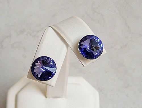 Blue Purple Round Swarovski Element Crystal Stud Earrings Simulated Tanzanite December Birthstone Gift Idea SS (Tanzanite Earring Womens)
