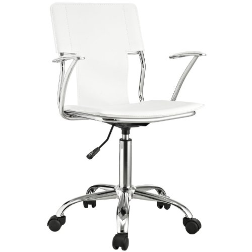 eather Swivel Task Office Chair in White ()