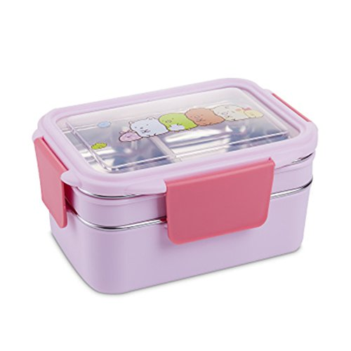 Stainless Steel Thermal Lunch Box Double Insulated School Bento Box Portable Food Container For Kids Picnic For Travel (Pink)