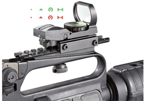 Ultimate Arms Gear Tactical CQB 4 Reticle Extreme Ops Edition Dual Red / Green Open Reflex Sight With See Thru AR15 AR-15 M4 M-4 M16 M-16 Rifle Carry Handle Weaver-Picatinny Rail Adapter Scope Mount