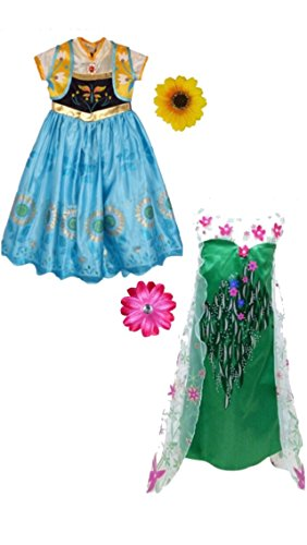 Frozen Fever Inspired Dress with Hair Clip (7-8 Years, Anna&Elsa)