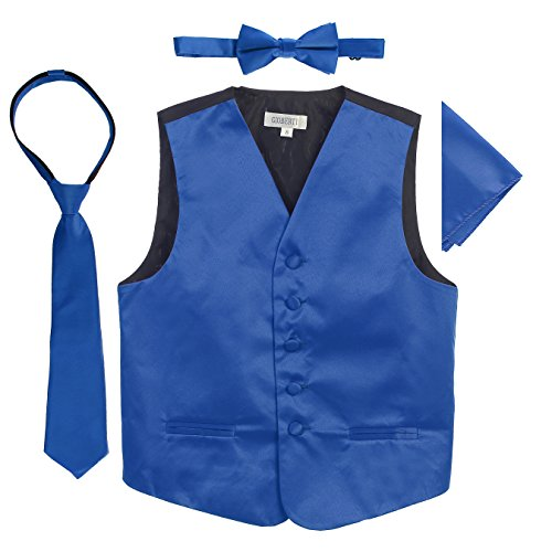 - Gioberti Boys 4pc Satin Formal Vest Set, Royal Blue, 16