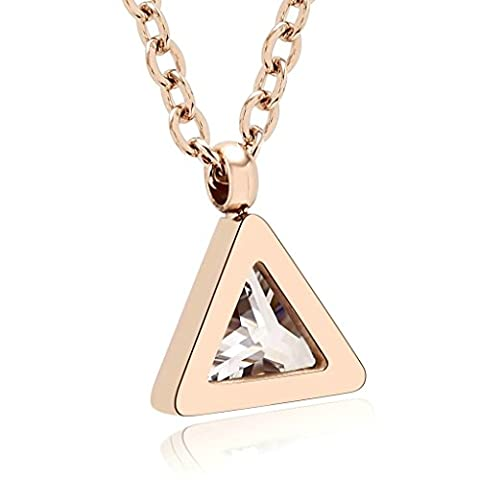KnSam Women Stainless Steel Chain Necklaces Crystal Triangle Shape Rose Gold [Novelty Necklace] (Green And Gold Baseball Necklace)