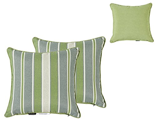 Bossima Indoor/Outdoor Green/Grey Striped/PIEBALD Square Toss Pillow, Corded Cushion Set of 2, Reversible