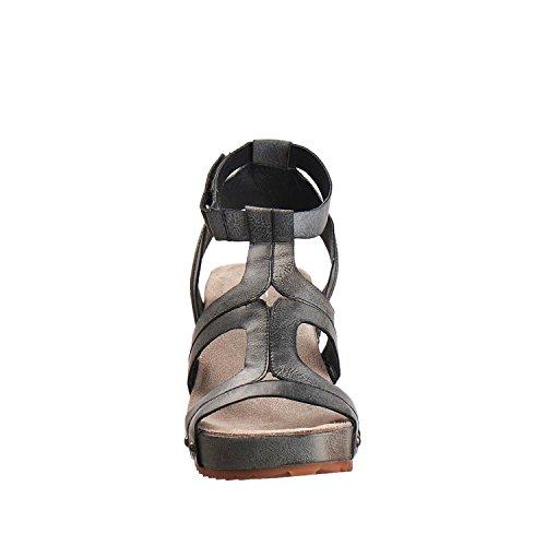 Antilop Kvinna 528 Metalliskt Läder Smal Band Sandaler Svarta