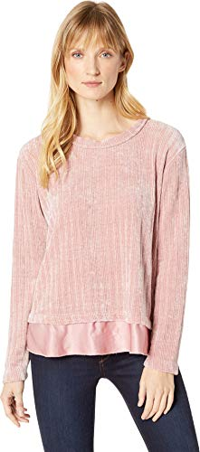 Mod-O-Doc Women's Chenille Rib Crew Neck Sweater with Satin Trim Dusty Pink Large