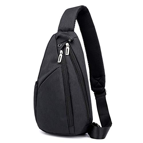 Multi-Compartment Shoulder Chest Crossbody Backpack Daypack Pack Bicycle Travel Gym Sling Bag 35228cm with External Headphone Hole,Black