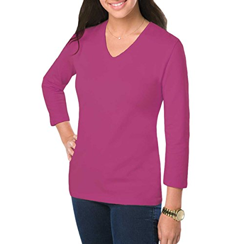 Amy Alder Womens Classic-Fit Basic 3/4 Sleeve V-Neck Shirt, Berry, (Plus Size Classic Cotton V-neck Tees)