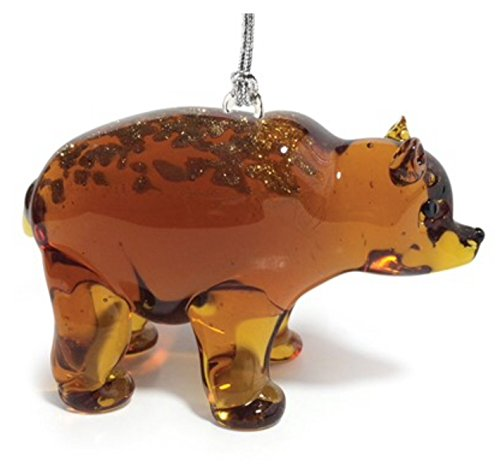 Glassdelights Grizzly Bear Glass Christmas Tree Ornament Animal Decoration (Hanging Bear Ornament)