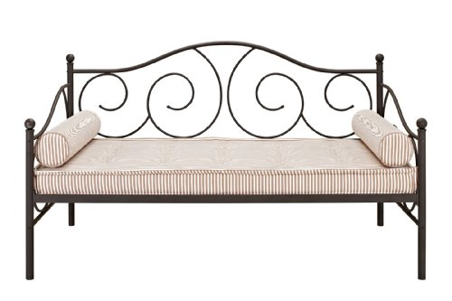 DHP Victoria Metal Daybed, Multifunctional, Includes Metal Slats, Twin, (Bronze Twin Size Bed)