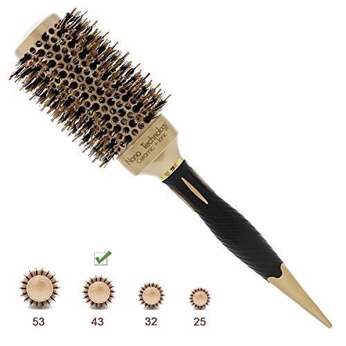 - Barrel Round Hair Brush Nano Ionic Thermal Ceramic Boar Bristles Roller Hairbrush For Blow Drying, Curling, Straightening, Perfect Volume Shine (2.9