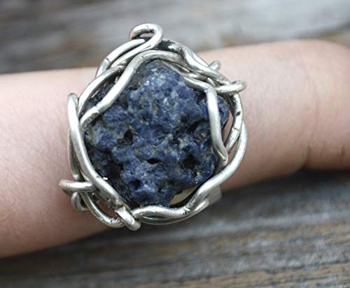 Rustic Wire Wrapped Raw Untreated Blue Sapphire Solid Solid Sterling Silver Size 8 Ring Wide Band Cigar Statement Rustic Healing Energy,