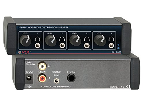 RDL EZ-HDA4A Stereo Headphone Distribution Amplifier