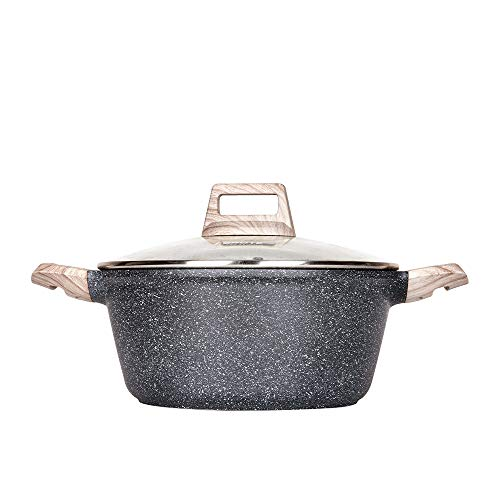 Carote 2.3 Quart Casserole Dish with Lid, Nonstick Cast Aluminum Dutch Oven, Stockpot with Glass Cover…