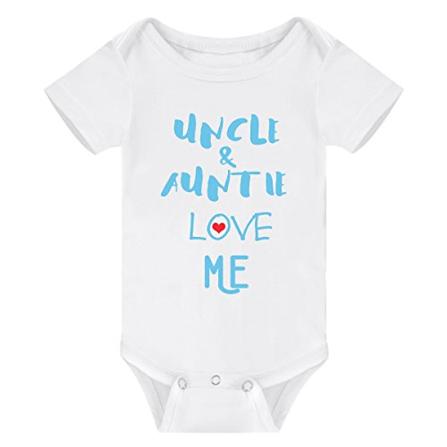 Winzik Newborn Baby Boys Girls Outfits Uncle Auntie Love Me Letters Print Baby Onesie Romper Jumpsuit T-Shirt (0-3 Months, White Blue) by Winzik (Image #8)'