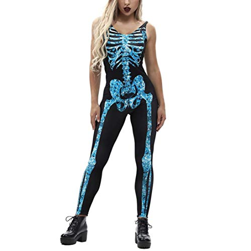 Women Halloween Cosplay Costume Jumpsuit Fancy 3D Rose Skeleton Romper Bodysuit(A,Medium) -