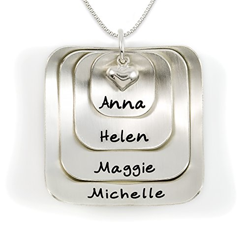 (Square Lucky Four Sterling Silver Personalized Necklace Comes with 4 Customizable Charms and a Sterling Silver Heart Charm. Your Choice Of Chain. Gifts for Her, Mother, Grandmother, Wife)