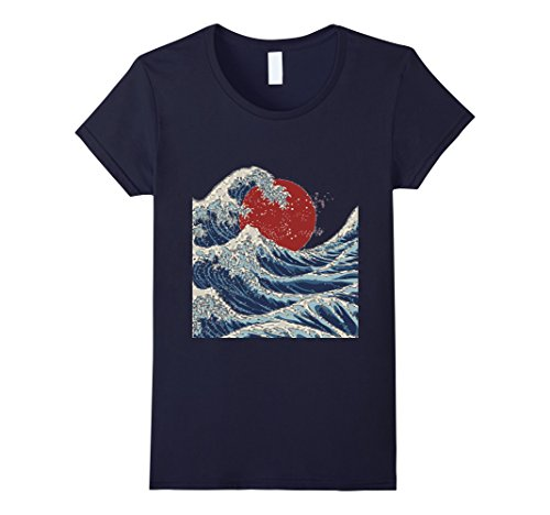 Womens Traditional Japanese Ocean Wave Sunrise Print T-Sh...