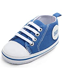 Unisex Baby Boys Girls Canvas Shoes - Anti-Slip Sole Basic Sneakers-Lace up Infant Pre-Walker Toddler Crib Shoes...
