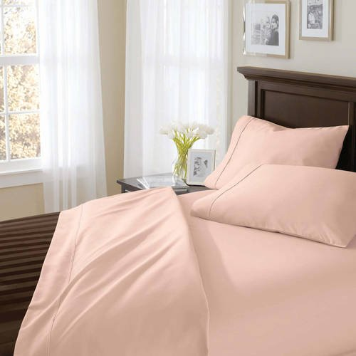 Better Homes and Gardens.. 400 Thread Count Solid Egyptian Cotton True Grip Bedding Sheet Set (King, Pink) from Better Homes and Gardens..