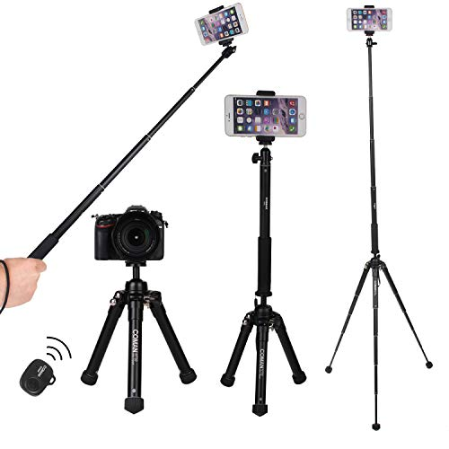 Phone Tripod, COMAN 2-in-1 Camera Tripod with Selfie Stick Lightweight for Travel with Bluetooth Remote and Phone Adapter Mount for iPhone Cellphone and Digital Camera