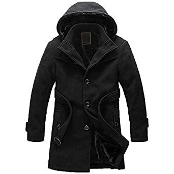 Amazon.com: Partiss Men's Hooded Trench Coat: Clothing