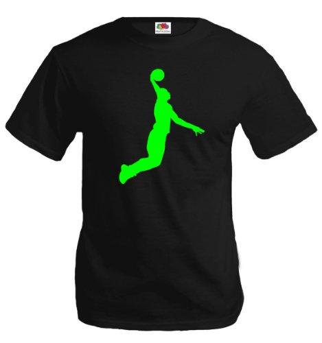 T-Shirt Basketball Dunker-S-Black-Neongreen
