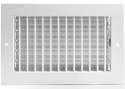 "8""w X 6""h Adjustable AIR Supply Diffuser - HVAC Vent Cover Sidewall or Ceiling - Grille Register - High Airflow - [Outer Dimensions: 9.75""w X 7.75""h]"