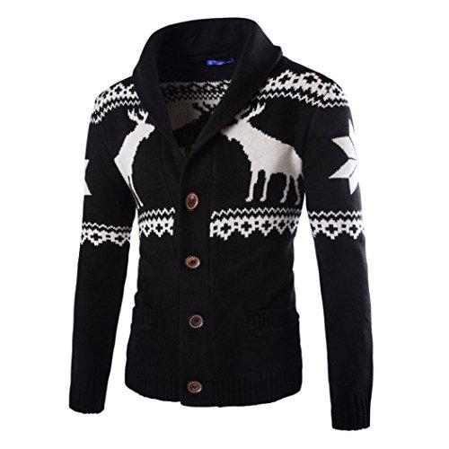 kaifongfu Mens Cardigan Winter Christmas Sweater Xmas Knitwear Coat Jacket Sweatshirt (Black, XL) ()
