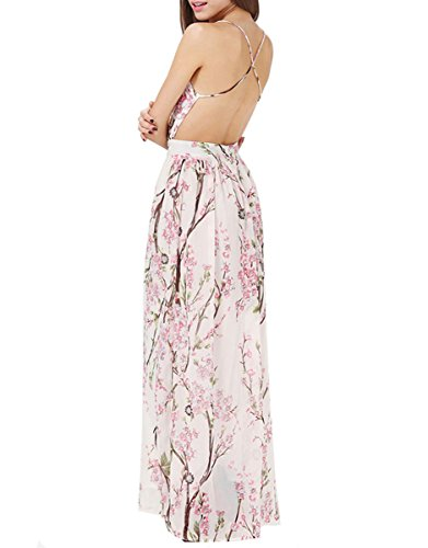 Floerns Women's Sexy Floral Backless Beach Party Maxi Dress Pink - Dresses Formal Backless