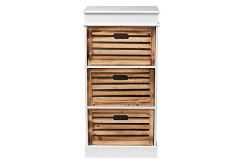 - Baxton Studio Rochefort British Colonial Classical Country Style 3-Drawer Storage Cabinet, White/Natural Finished