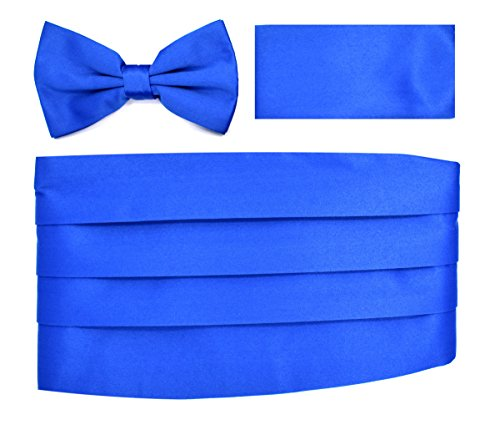 Cummerbund Bow-Tie Hanky Set (Solid Royal Blue)-i Royal Blue Cummerbund