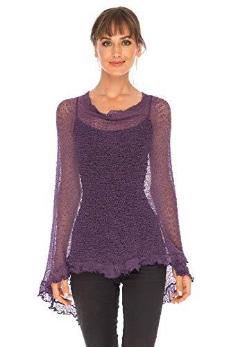 SHU-SHI Womens Sheer Poncho Shrug Lightweight Knit with Ruffle One Size Fits Most Purple]()