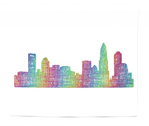 Lunarable North Carolina Tapestry King Size, Contemporary Style Charlotte City Scene in Colorful Buildings USA Panorama, Wall Hanging Bedspread Bed Cover Wall Decor, 104 W X 88 L Inches, Multicolor