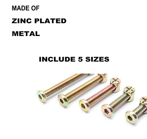 Crib Screws Nicked Plated M6 x35//45//55//65//75mm Hex Socket Head Cap Crib Baby Bed Bolt and Barrel Nuts with 1 x Allen Wrench Perfect for Furniture Swpeet 100Pcs Crib Hardware Screws Cots