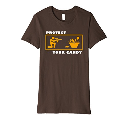 Womens Protect your Candy Shirt Funny Halloween Trick or Treat Small Brown