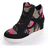 ZHZNVX Zapatos de Mujer Canvas Spring & Fall Lace Up Sneakers Flat Heel Black/Gray