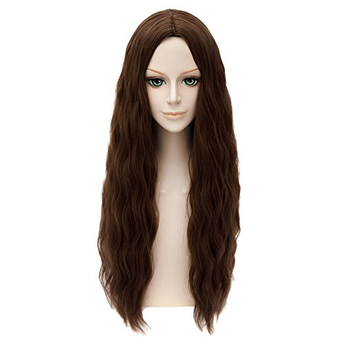 HH Building Movie Character Costume Wig Long Wavy Hair Cosplay Wig (Dark Brown) -
