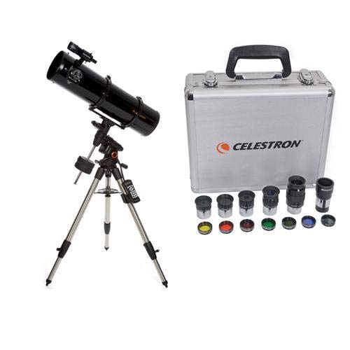 Celestron Advanced VX 8'' Newtonian Telescope - with Deluxe Accessory Kit (5 Plossl Eyepieces, 1.25'' Barlow Lens, 1.25'' Filter Set, Accessory Carry Case by Celestron