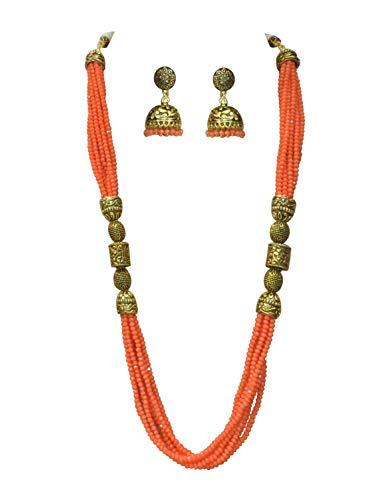 Babosa Sakhi Coral Orange Antique Necklace Indian Ethnic Traditional Jaipuri Beaded Mala Set with jhumki Earrings SRN168